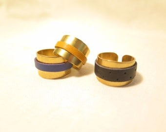 Brass and leather rings