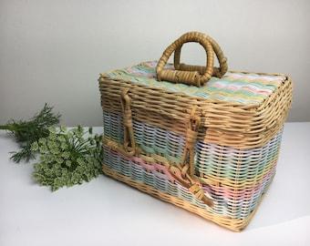 70's Pastel Basket Handbag