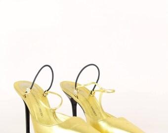 Giuseppe ZANOTTI 1990s Vintage Crystal Embellished T-Strap Slingback Pumps Gold Leather Size Germany 39.5 / UK 6.5 / USA 9.5