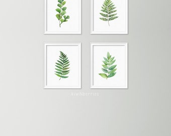 Summer outdoors Botanical art set - July 4th celebration - Watercolor leaves wall art - Leaf art set - botanical prints - Modern decor