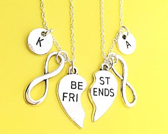 925 sterling silver,Silver Best Friends Necklaces - Set of Two Friendship Necklaces, heart Charms, Bff Charm,friendship Necklace Set,Jewelry
