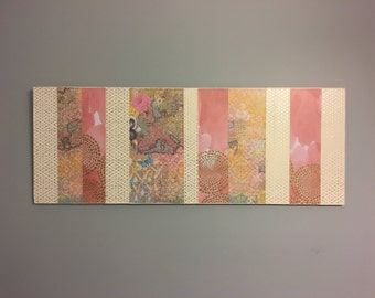 Pink and gold wooden wall panel - Abstract wooden wall decor