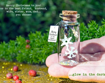 Merry Christmas to the best...  Happy Christmas. Glow in the dark! Tiny message in a bottle. Personalised Gift. Special Christmas card