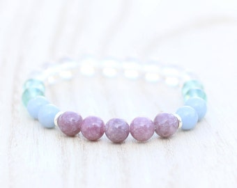 Spirit Bracelet with Angelite, Lepidolite, Fluorite, Clear Quartz. Contact Angels and Spirit Guides. Psychic Channelling, Intuition. Gift.