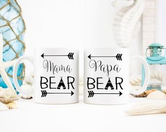 Mama and Papa Bear Mugs, Dad Mug, Papa Bear, Mama Bear Mug, Pregnancy Announcement, Mama Bear, New Mom and Dad Gift, New Parents Gift