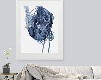 Blue print, Abstract art, giclee art, Abstract Watercolor Giclee Print, Fine Art Print, Watercolor print, large print