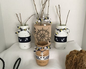 Ship's Wheel and Anchors Nautical Jars