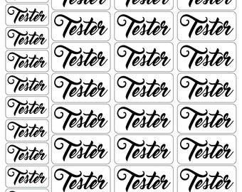 Tester Labels Big and Little, Clear or Sparkly White