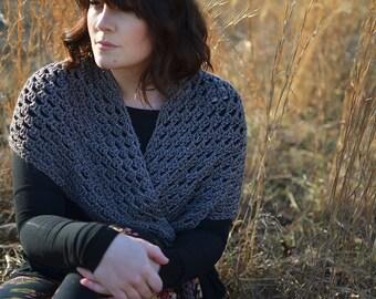 Triangle Fringe Scarf   The Harper   Wrap   Shawl   Crochet   Blanket Scarf