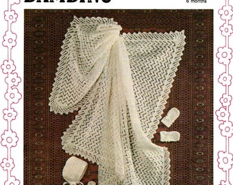 Vintage Pattern to make Shawl, Bonnet, Bootees and Mitts
