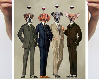 Wine Print, Wineglass Poster, Wine painting, Chihuahua, Boxer, Daschund, Greyhound,Holiday Gift, Christmas Gift, Coco de Paris