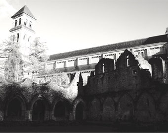 Belgian Monastery Print, Trappist Brewery, Orval, Belgium, Large Wall Art, Black and White Photography, Abbey Ruins, Beer Art - Les Abbayes