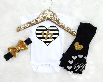 Half Birthday Girl, 6 Month Birthday, Girls Half Birthday Outfit, 1/2 Birthday Clothes, One Piece, Gold Black, Sparkle Bow, Leg Warmers