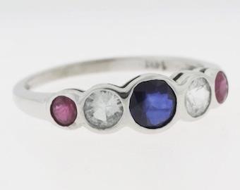 Sapphire Aquamarine Ruby Wedding Band - 14k White Gold Multi-Color Stone Band
