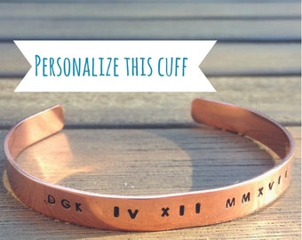 Personalized Copper Bracelet, Custom Copper Bracelet, Hand-Stamped Cuff, Bridesmaids Gift, Women's Copper Cuff, Gift under 20, Gift for Her