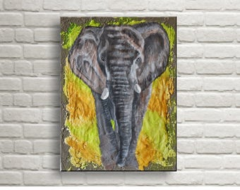 Elephant - Original Acrylic Painting 30x40 cm