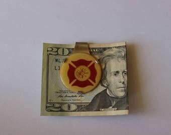Vintage Fire Department Emblem Money Clip