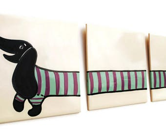 Dachshund Art - Black Doxie - Triptych - Hand Painted Tiles - Sausage Dog - Wiener Dog Lover - Dog Tiles - Doxie Decor - Dachshund Owner