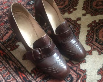 Vintage 1970s Chocolate Brown Leather Heeled Shoes with Buckle Strap - UK 3 1/2, EU 36 1/2, US 6