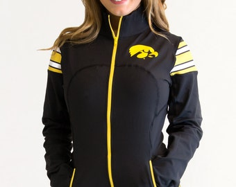 Iowa Hawkeyes NCAA Women's Full Zip-Up Yoga Track Jersey Jacket (Black)