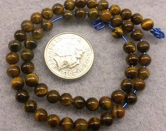 Tigerseye 4mm round beads semi precious