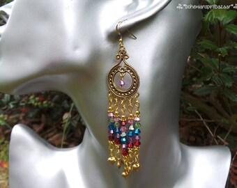 Crystal Chandelier Earrings, Sparkling Earrings, Bohemian Chandelier Earrings, Boho Chandelier Earrings, Gypsy Chandelier Earrings