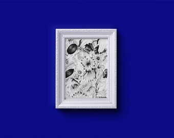 Small screen printing of art illustration 'Jungle' by Larobotte - 11 x 15, 8 cm - piece limited edition 20 best - FREE SHIPPING