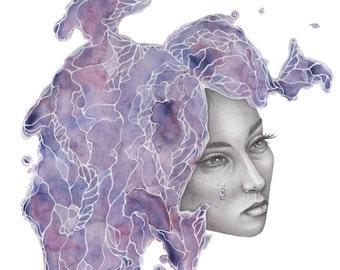 Girl Illustration, Watercolor Prints, Portrait, Purple Art, Bedroom Decor, Printable Art, Digital Download, Instant Download, Wall Art
