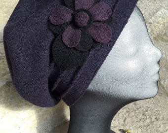 For woman in black boiled wool winter Hat