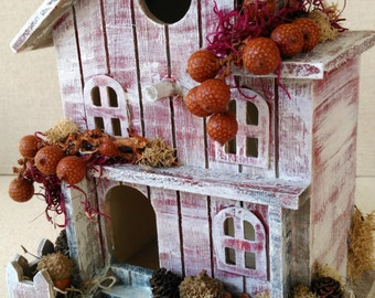 Country Cottage Fall Bird House, Rustic Distressed Bird House Decor, Fall Decorations, Bird Lover's Gift, Birds Moss and Paper Flowers