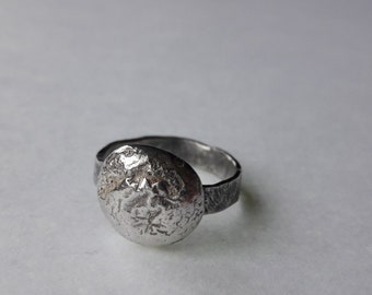 Unique Melted Oxidised Silver Ring