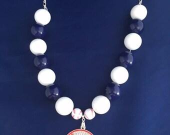 NY Yankees baseball RHINESTONE pendant Necklace yankees/baseball/mlb/sports jewelry/necklace/pendant/yankeesbaseball