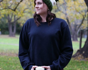 Pom-Pom Beanie in Green and White