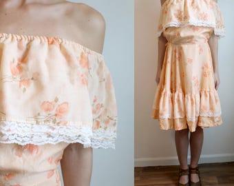 Off the Shoulder Peach Floral Dress