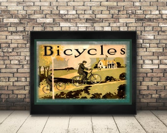 High Resolution from a Vintage Travel Poster of Countryside Bicycle Ride. Home Decor or Wall Art that is Perfect for the Bike Rider Sports.