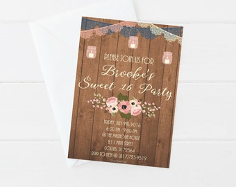 Sweet 16 Invitation, sweet 16, rustic, wood, lace bunting, candles, girl birthday, sixteen, (5x7 DIGITAL FILE ONLY)