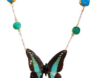 Real Handmade Butterfly Wing Necklace - Blue Triangle - Teal Druzy Butterfly Wing Jewelry