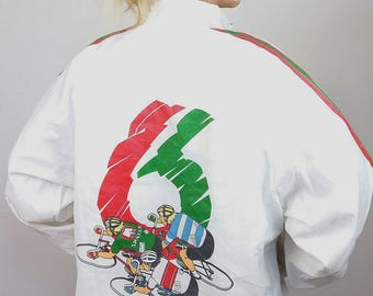 Vintage 80's Unisex Soft Shell Jacket / Windbreaker Cycling