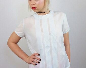 Vintage Minimalist Sheer Top Short Sleeves Light Blue