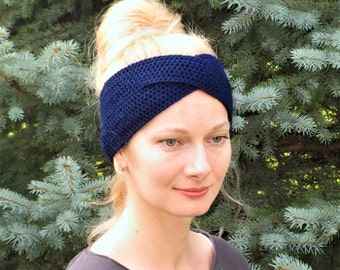 Valentines gift womens headband hand knit headband crochet headband navy blue headband wool hair wrap winter knit ear warmer wraped headband