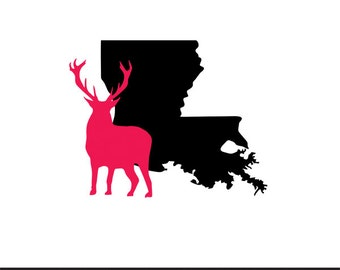 louisiana deer svg dxf jpeg png file stencil monogram frame silhouette cameo cricut clip art commercial use