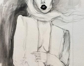 Black lipstick, Original Fashion Illustration