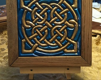 Hand-Carved Wood Intarsia Wall Art Celtic Sailor's Knot Blue