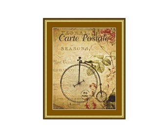 2 for 1 SALE! - Penny Farthing Cross Stitch Chart, Bicycle Instant PDF Digital Download Cross Stitch Pattern (P-104)