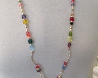 Long Swarovski multi colored crystal long necklace