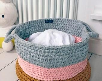 Storage basket with handles, crochet basket, laundry basket, nursery storage, colour block basket, choose your custom colours, Made to order