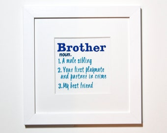 Brother definition gift ideas, brother print, brother definition, brother birthday, gift for big brother, big brother print, embroidered art