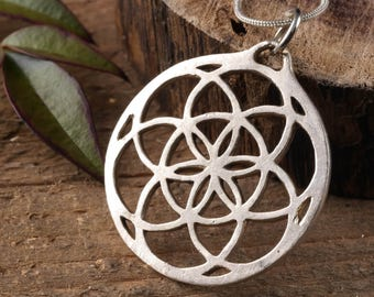 1.5 Inch SILVER Seed of Life Pendant - Sacred Geometry Jewelry, Flower of Life Pendant, Sacred Geometry Pendant, Silver Pendant E0331
