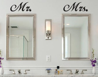 Mr. Mrs. Wall Vinyl Decals, Over The Mirror His U0026 Hers Bathroom Decals