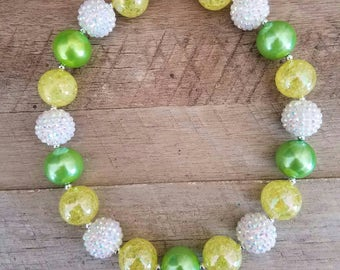 Green and Yellow Chunky Necklace, Bubblegum Bead Necklace, Chunky Beads, Baby Bubblegum Necklace, Packers Chunky Necklace